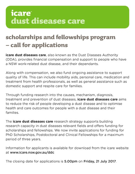 icare dust diseases care Scholarships and Fellowships